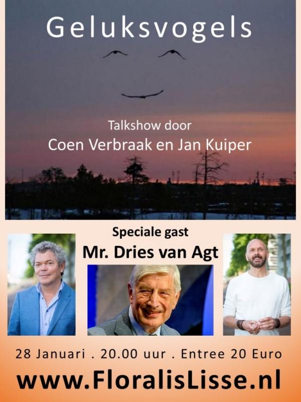 Theater Floralis presenteert GELUKSVOGELS met Coen Verbraak, Jan Kuiper en speciale gast Mr. Dries van Agt